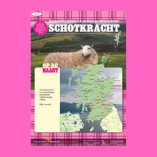 Schotkracht tentoonstelling over Schotland door A.G. van Hamel stichting op roze achtergrond