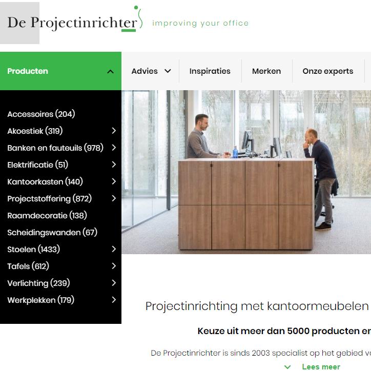 De Projectinrichter website vierkant webteksten