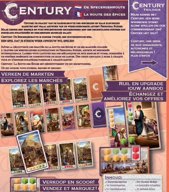 Nederlandse achterkant doos van bordspel Century De Specerijenroute