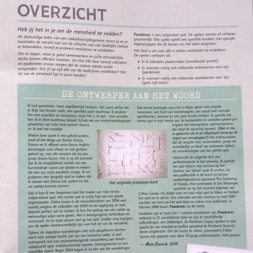 Pandemic 10th anniversary spelregels Overzicht