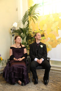 Self-made purple Victorian wedding dress