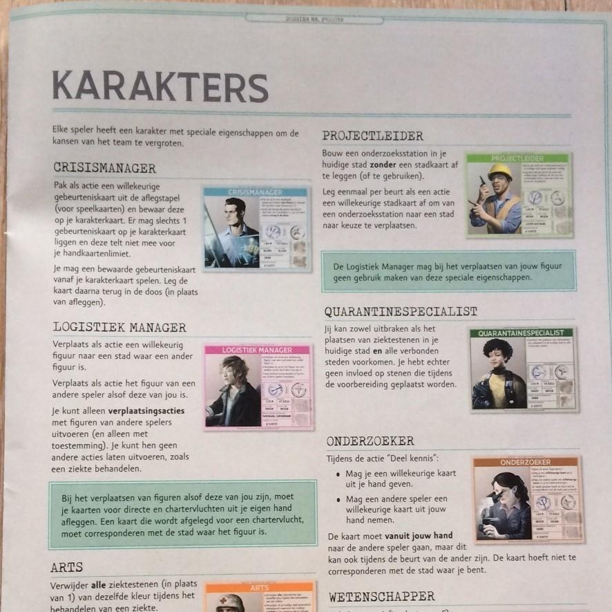 Pandemic Jubileumeditie bladzijde uit Nederlandse spelregels over karakters