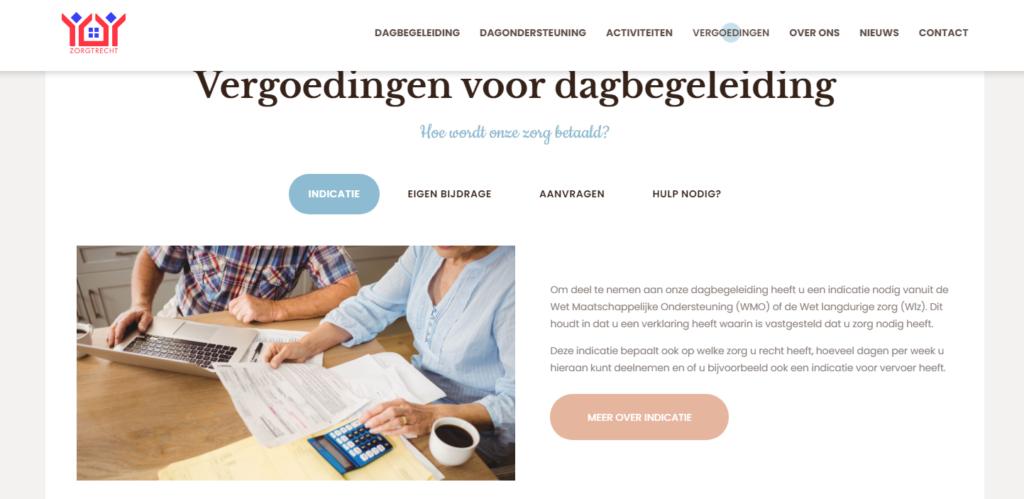 Website Stichting Zorgtrecht Vergoedingen